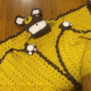 Handmade crochet cot blanket